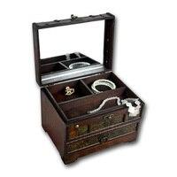 Vintage Wooden Storage Box Makeup Organizer With Mirror Chinese Retro Trinket Jewelry Storage Box Classical Treasure Storage Box