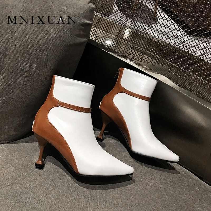 MNIXUAN ฤดูใบไม้ร่วงฤดูหนาวบางรองเท้าส้นสูงรองเท้าข้อเท้าสั้นสำหรับผู้หญิงคละสีเลดี้เซ็กซี่ 2019 หนังซิปรองเท้าขนาด 9 10