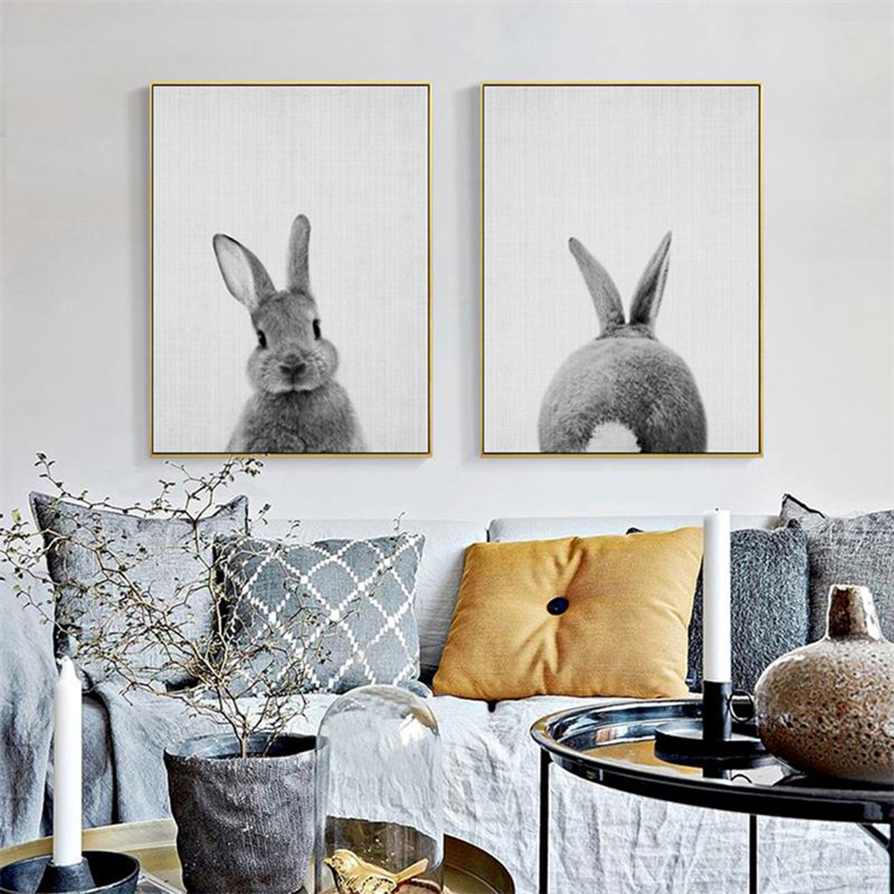 Cute Animal Rabbit Bunny Butt Tail Canvas Painting Art Poster Baby Nursery Print Painting Wall Picture For Living Room Decor