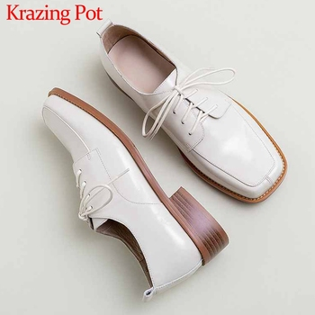 Krazing Pot handmade solid genuine leather leisure shoes lace up square toe med heels spring fashion comfortable women pumps L31