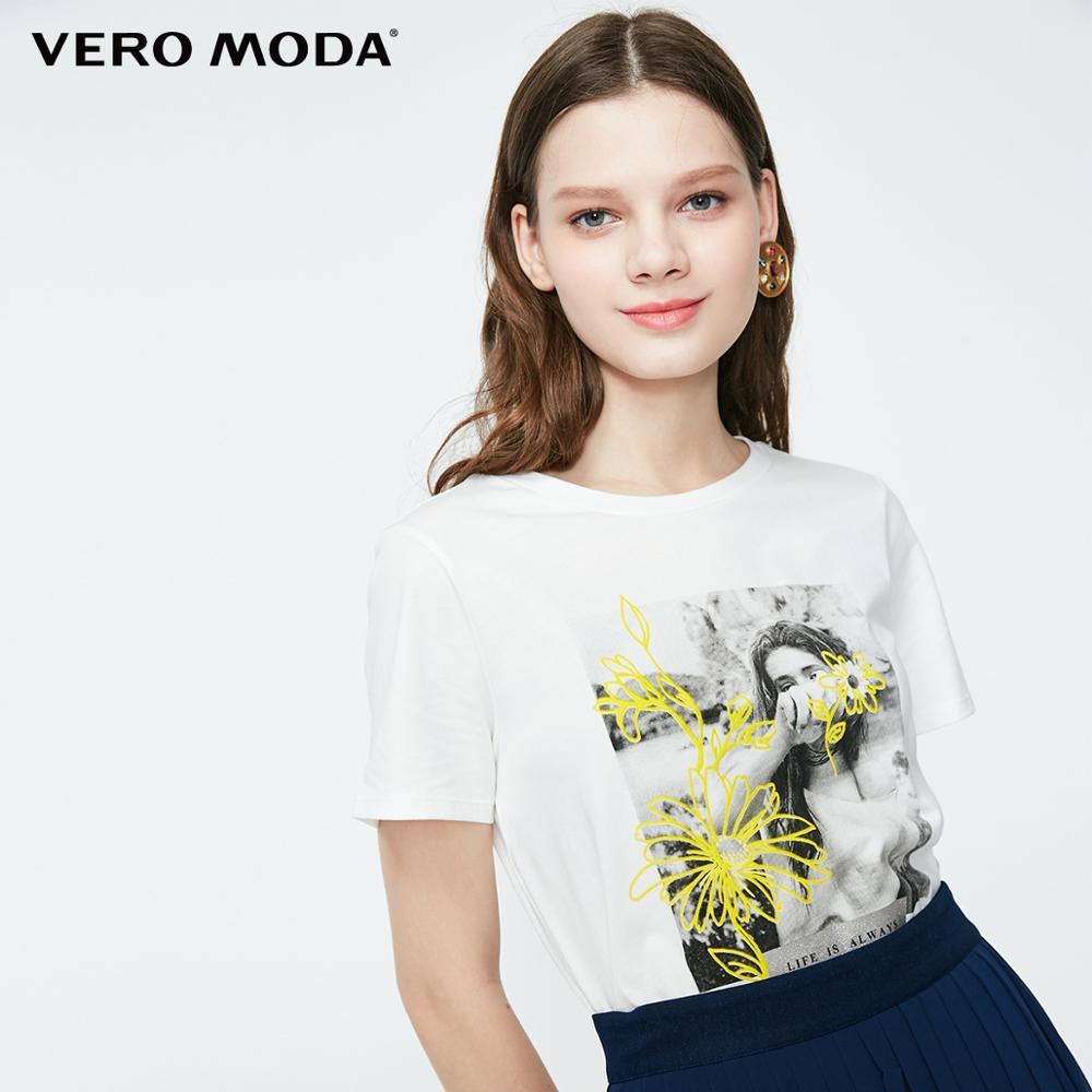 Vero Moda Women's 100% Cotton Person Pattern Print T-shirt | 319201639