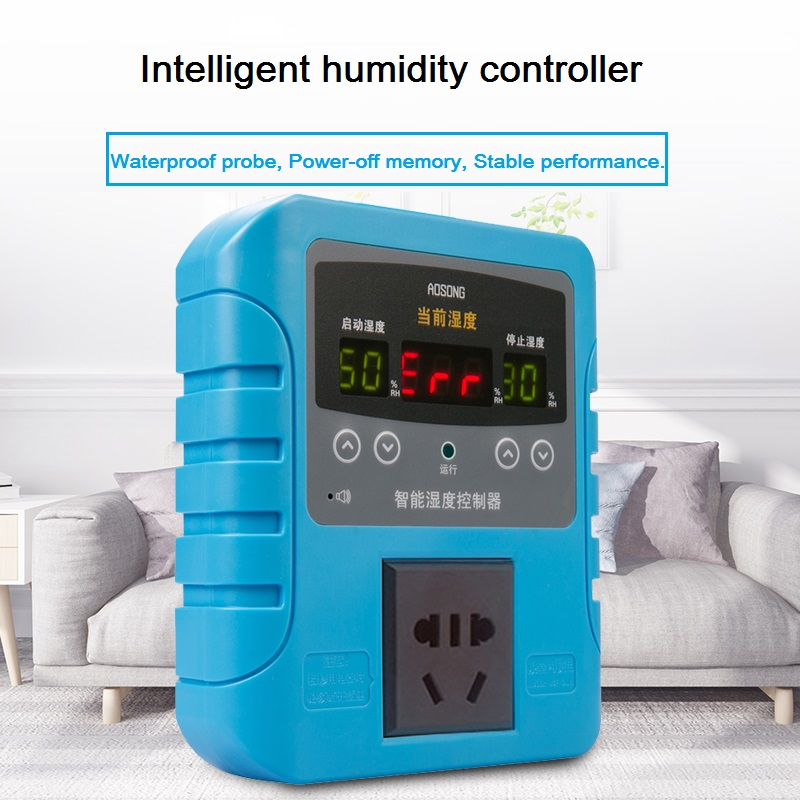 AK8002 Humidity Controller With Alarm Industrial Level Humidification Dehumidification Digital Display Intelligent Socket Switch