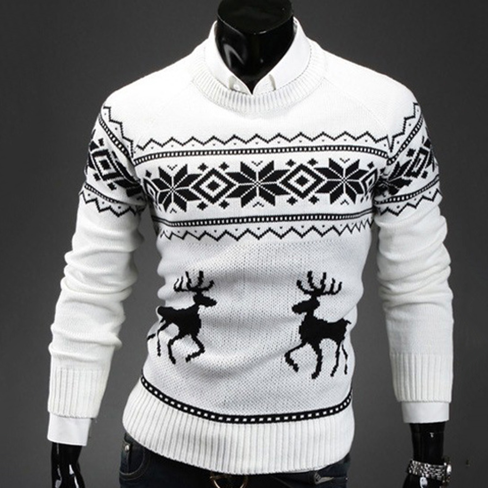 Autumn Winter Men's Sweater Turtleneck Christmas Deer Print Sweaters Casual Slim Fits Brand Knitted Sweater Men свитер мужской