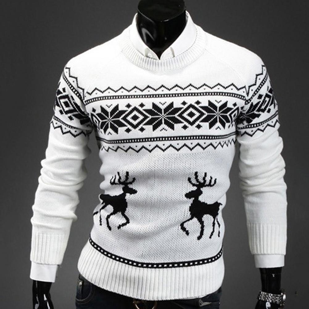 Autumn Winter Men's Sweater Turtleneck Christmas Deer Print Sweaters Casual Slim Fits Brand Knitted Sweater Men свитер мужской