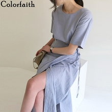 Colorfaith New 2020 Women's Summer Dresses Solid Casual Fashionable Lace Up Spli