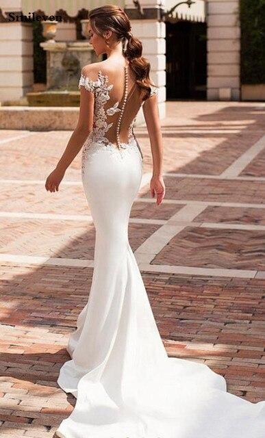 Smileven Mermaid Wedding Dress 2020 Satin Cap Sleeve Vestido De Noiva Lace Bohemian Bride Dresses With Romantic Buttons 3