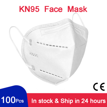 100 Pcs KN95 Face Mask 95% PM2.5 FFP2 CE 5 Layers Filter Anti-flu Pollution Breathable Protective Health Mouth Mask For Face