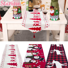 Merry Christmas Decoration Linen Table Flag Creative Christmas Table Runner Desktop Xmas Decoration For Home New Year Decoration цена