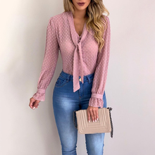 Women Bow Tie Neck Chiffon Blouse Long Sleeve Blouse Tops Casual Office Work Shirts Autumn Office Laddy Female Translucent Tops fashionable boat neck tie chiffon blouse for women