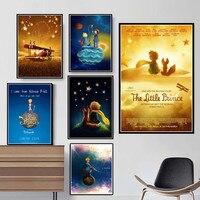 Pintura sobre lienzo de películas de dibujos animados, arte de pared del Principito impreso para decoración del hogar, imágenes de estilo nórdico, póster para habitación de niños