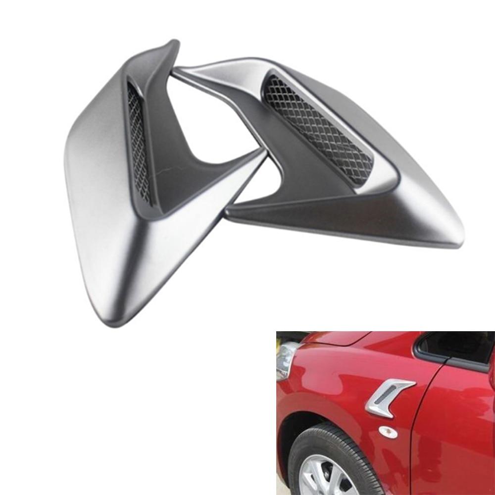 2pcs/lot Car Auto Side Vent Air Flow Fender Intake Sticker Car Simulation Side Vents Decorative