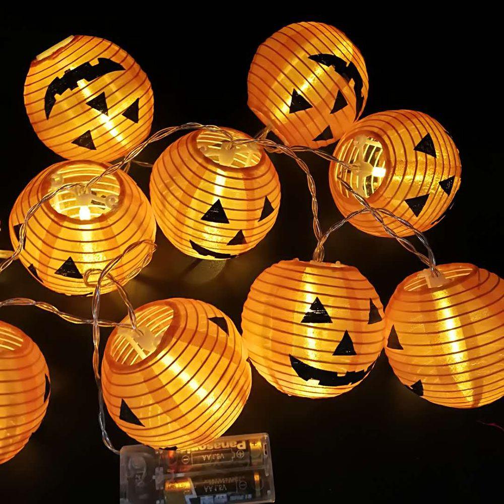 10pcs Halloween Pumpkin LED String Lights Hanging Pumpkin Lanterns Holiday String Lights Halloween Party Home Garden Decor