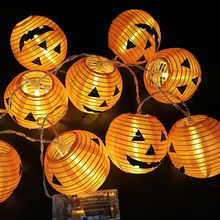 10pcs Halloween Pumpkin LED String Lights Hanging Lanterns Holiday Party Home Garden Decor