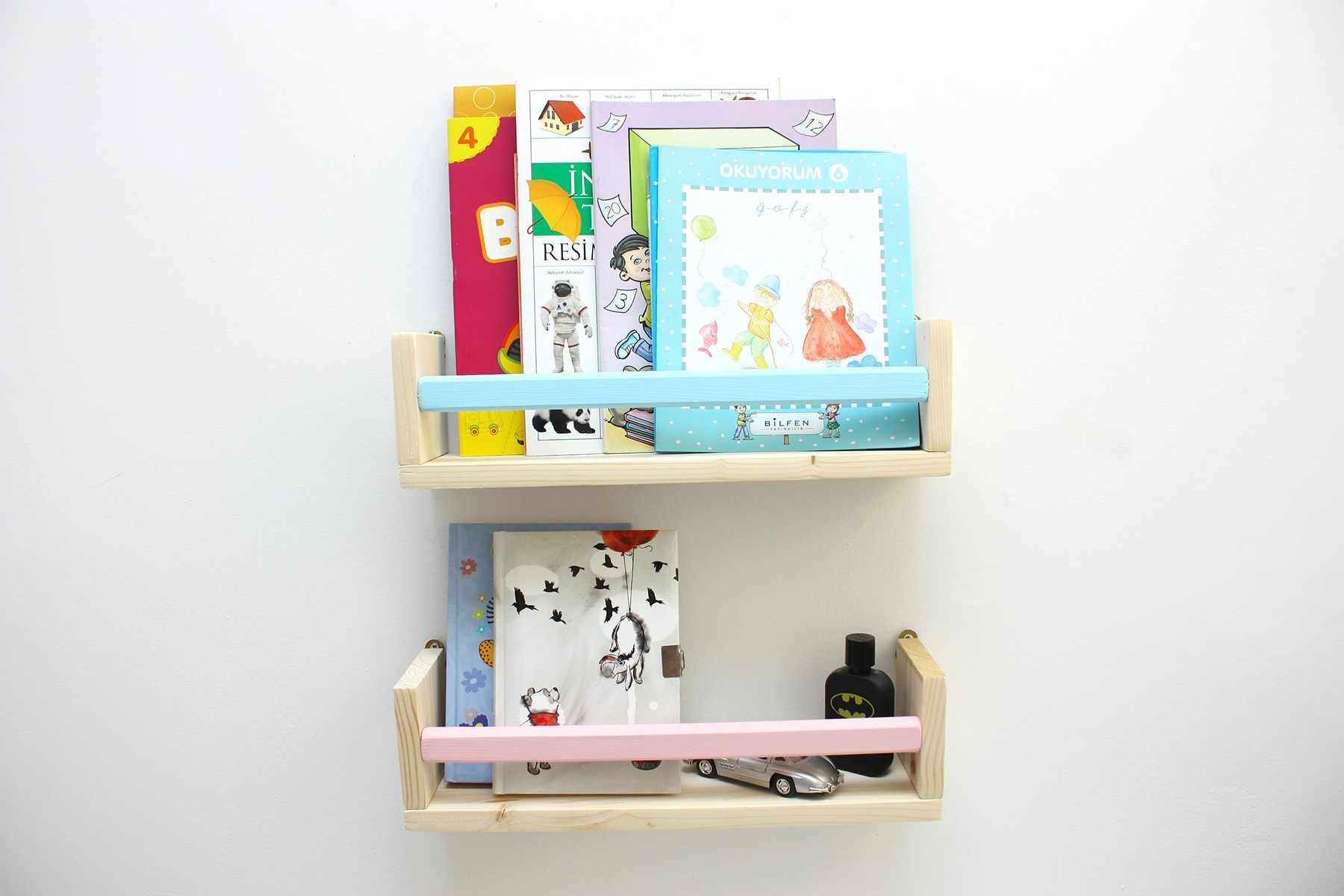 2 li Pink Blue Montessori Wall Rack Bookshelf Baby Kids Room Decor Regulator q50