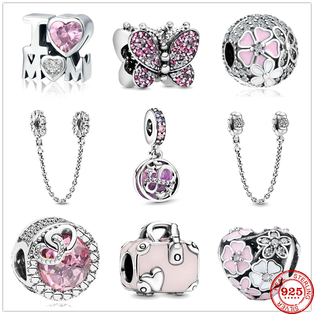 Charm Safety-Chain Pendant Diy Fine-Beads Infinity Stars 925-Sterling-Silver Pav Hearts