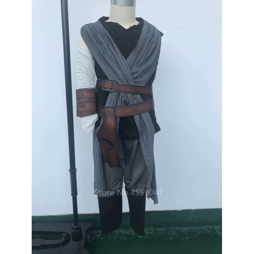 Kids Women Halloween Cosplay Costume Star Wars The Force Awakens Rey Fancy Clothing Role Play Carnival Party Outfit Set Outfits