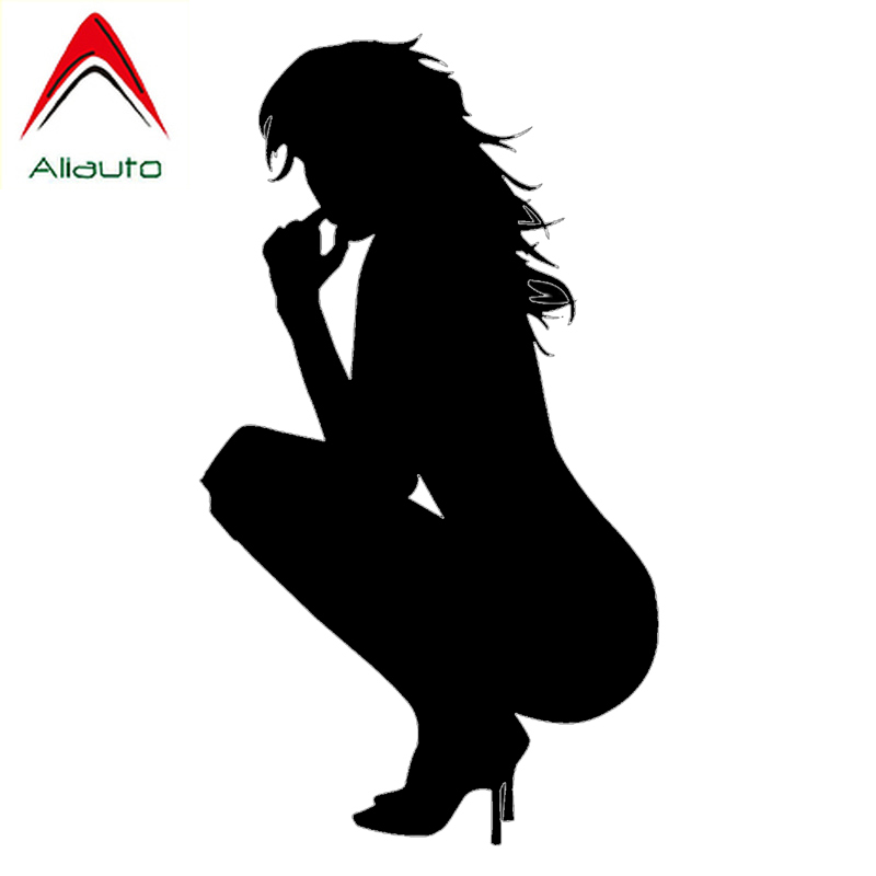 Aliauto Cretive Car Sticker <font><b>Sexy</b></font> <font><b>Girl</b></font> Nude Lady Squatting Automobiles & Motorcycles Laptop Decorative Vinyl Decal,18cm*9cm image