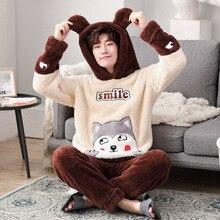 M-4XL для женщин и мужчин; сезон осень-зима; коричневый пижамный комплект с шапкой; мягкий теплый флисовый Пижамный костюм; Мужская домашняя одежда с капюшоном; парные пижамы с героями мультфильмов