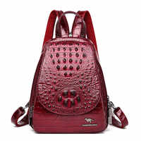Women Leather Backpacks High Quality Sac A Dos Rucksacks For Girls Vintage Bagpack Solid Ladies Travel Back Pack School Female
