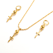Gold ball beads Cross Jewelry Sets for Women Jesus Necklace Earrings Jewelry Sets Wedding Bride Jewelry Christmas gifts top women christmas gifts flower shape bridal jewelry accessories gold necklace crystal earrings italian jewelry sets