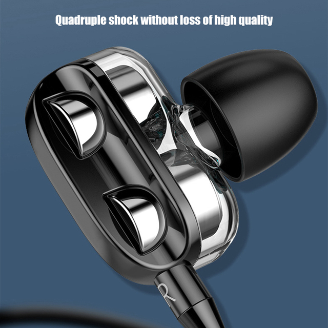 Sports Dual Drivers 4 Units Heavy Bass HiFi 3.5mm In-Ear Wired Stereo Earphones For Xiaomi Huawei Samsung Universal Headphones 3