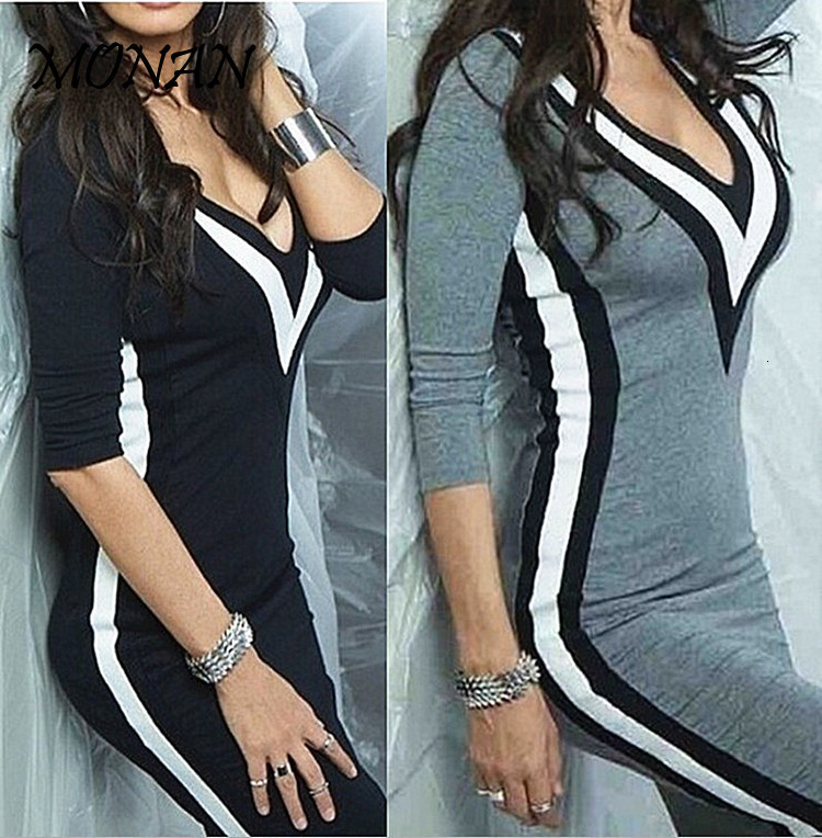 High Quality 2019 Women's Long Sleeve Black White Crew Neck Bodycon Sexy Splice Slim Dresses For Autumn Large Size