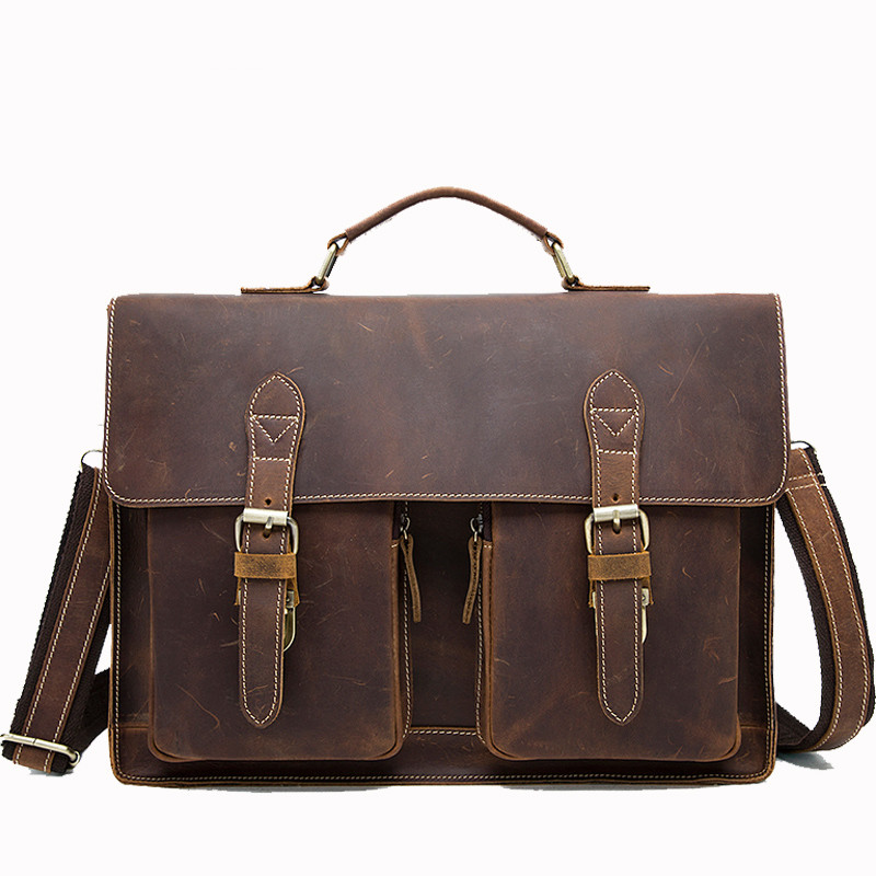 Business Briefcases Bag Men For Lawyer Vintage Crazy Horse Leather Laptop Briefcases Bag 14inch Office/Document Bags Men