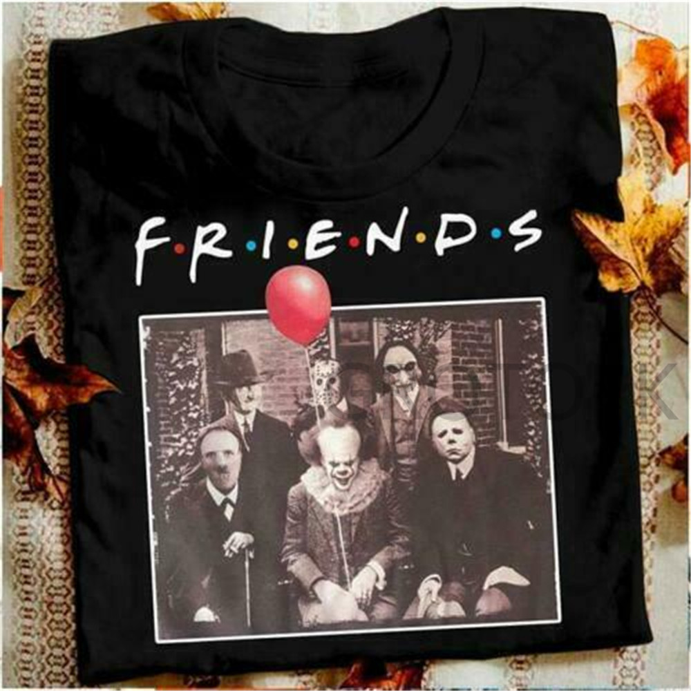 Horror Friends Pennywise Michael Myers Jason Voorhees Halloween Black Men T-Shirt Cotton Matching T-shirt Streetwear Maniac Park