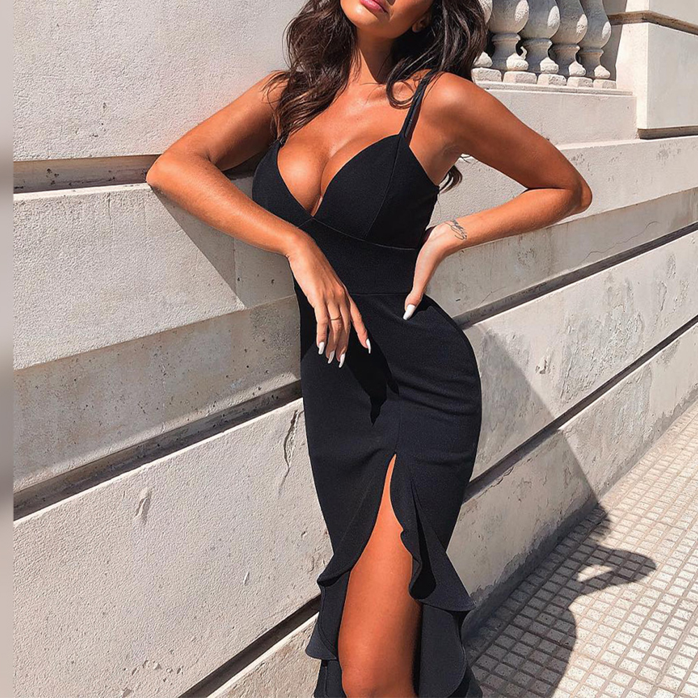 Ocstrade Sexy Black Bandage Dress 2020 New Arrival Summer Women Mermaid Bandage Dress Bodycon Celebrity Evening Club Party Dress