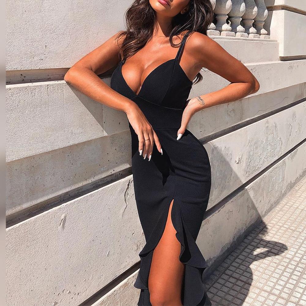 Ocstrade Sexy Black Bandage Dress 2020 New Arrival Summer Women Mermaid Bandage Dress Bodycon Celebrity Evening Club Party Dress