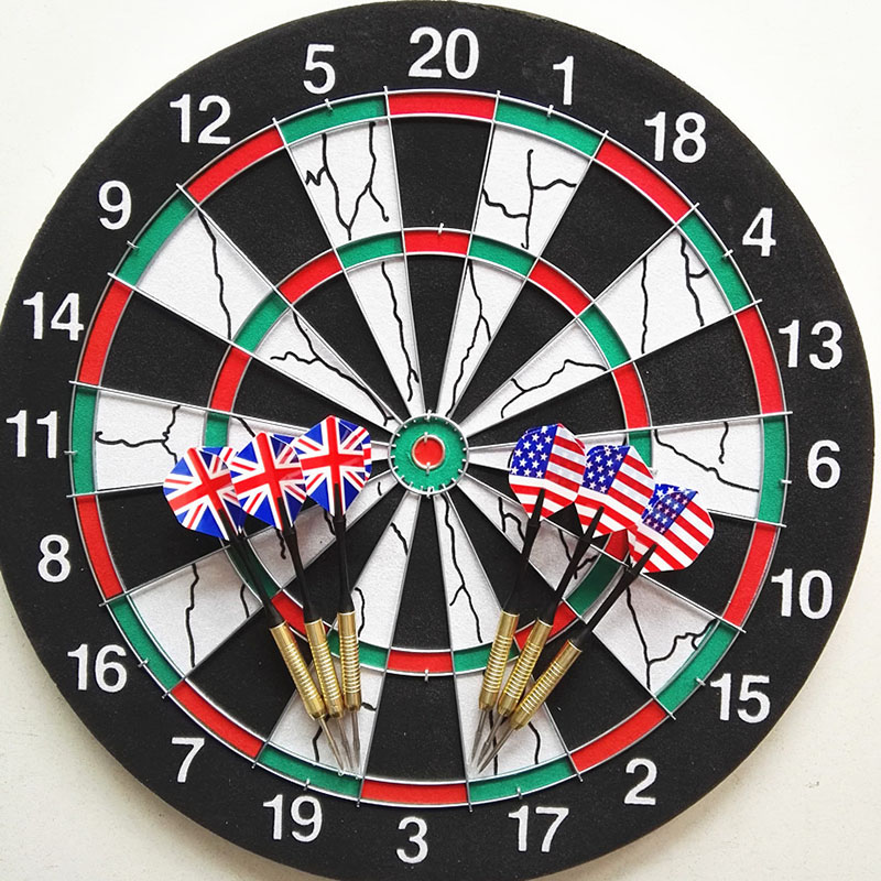 15 inch Darts Boards with 6 pcs needle darts Plate Double-sided Flocking Dart Board Professional Suit Special Darts Disc train
