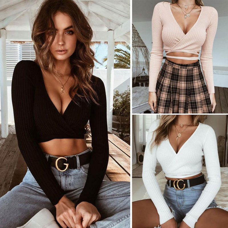 Sexy T-Shirt Women Autumn Solid Deep V-Neck Bandage Crop Tops Long Sleeve Casual Clothes Plus Size