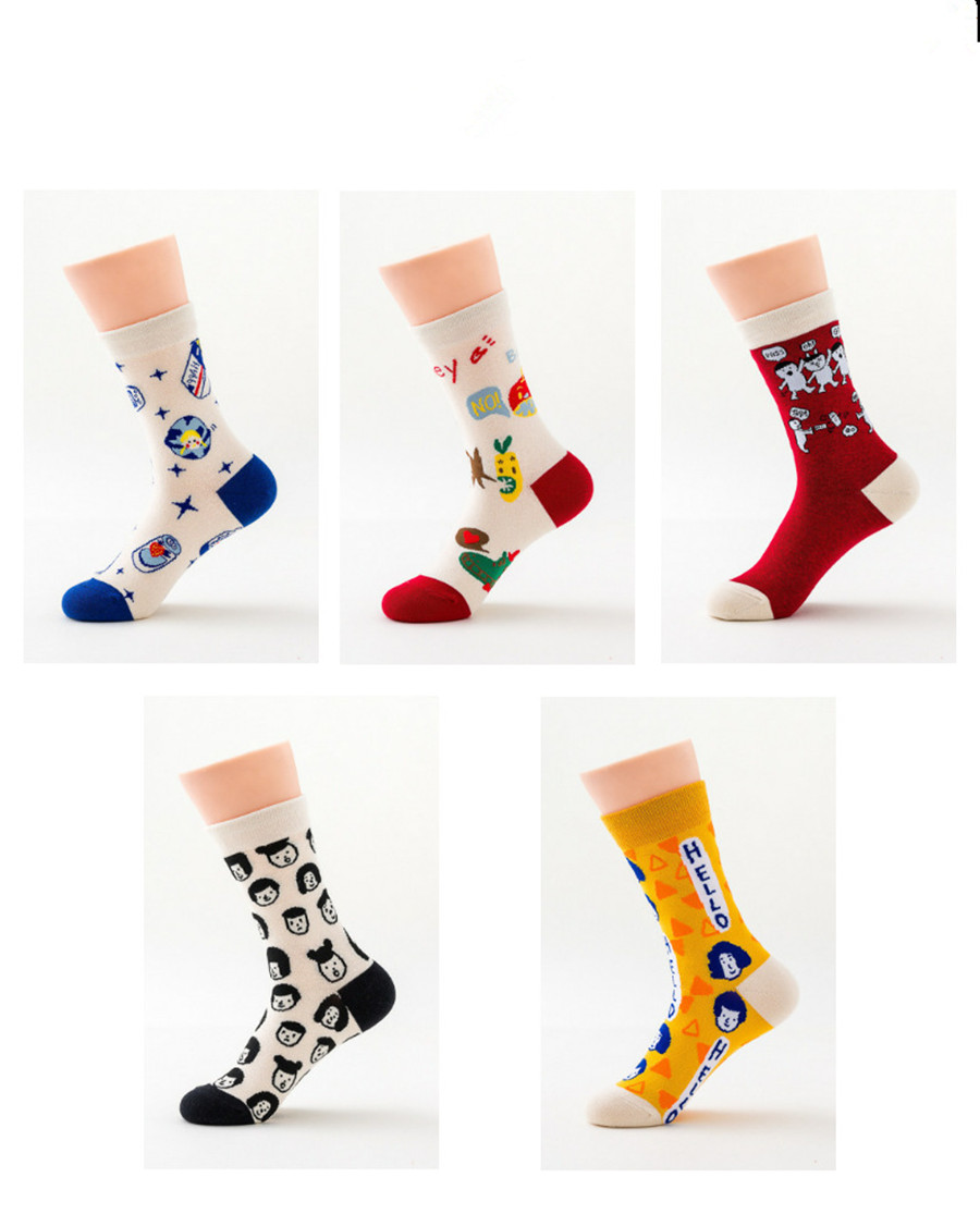 Cartoon Fruit Pattern Fashion Orange Brand Women's Socks Creative Cartoon Character Sports Women's Cotton Socks