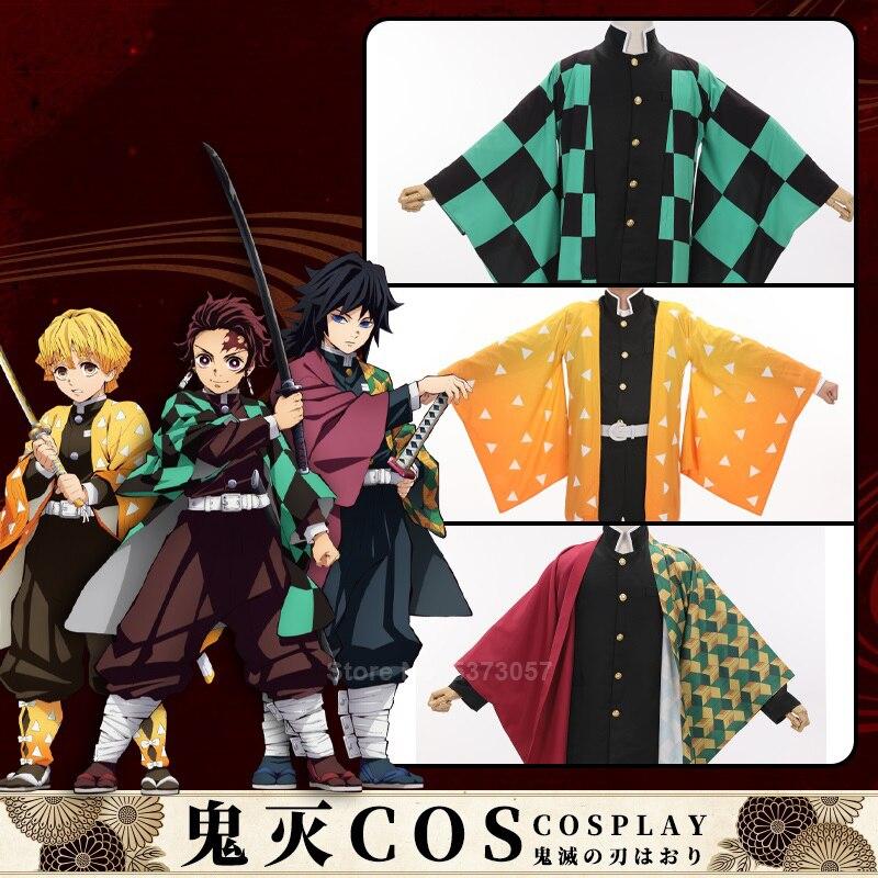 Traditional Japanese Yukata Haori For Man Women Demon Slayer Kimetsu No Yaiba Tanjiro Kamado Anime Cosplay Costume Kimono Coat