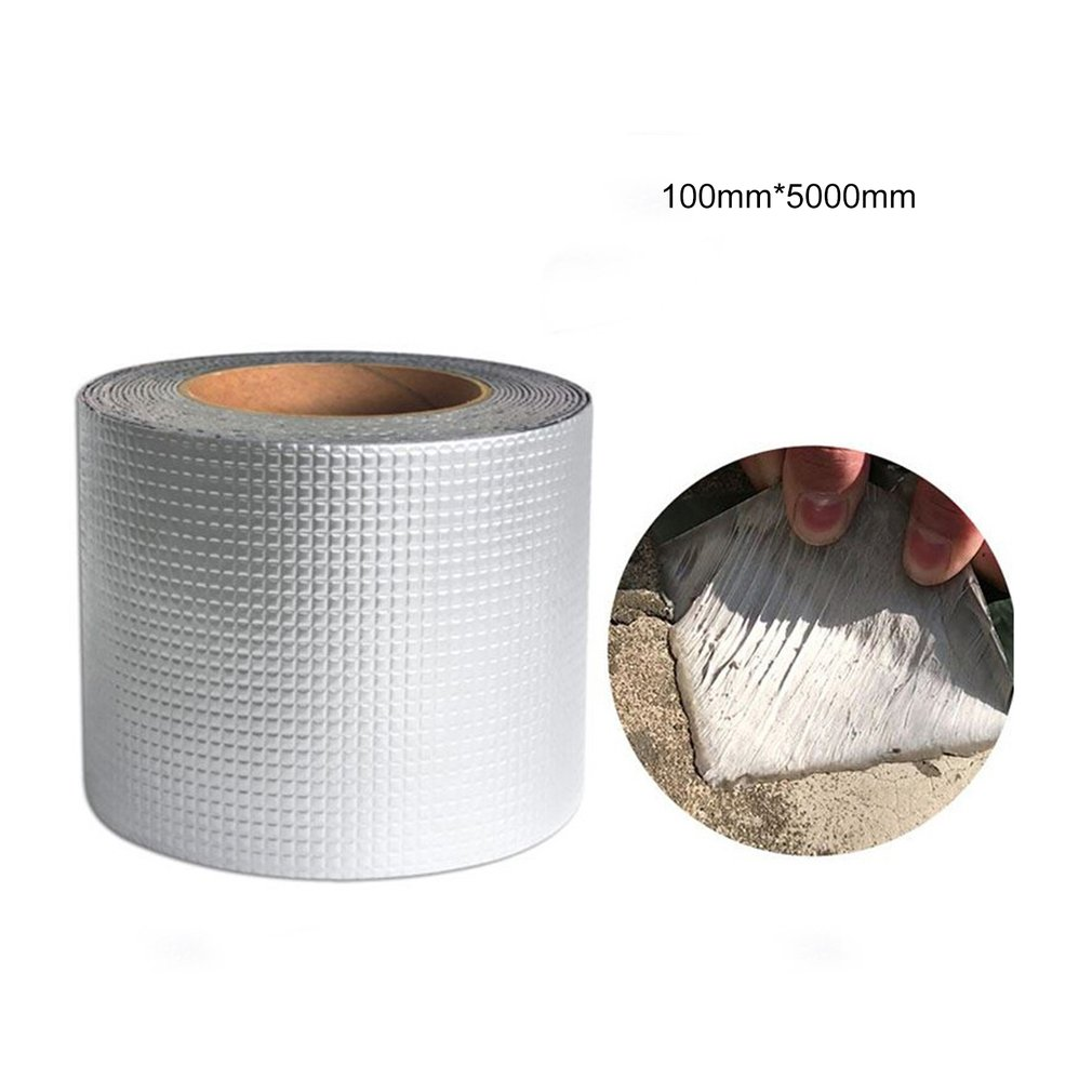 Strong Quality Aluminium Foil Butyl Rubber Tape Pipe Glass Floor Roof Window Wall Waterproof Adhesive Sealer 1.5mm Thick