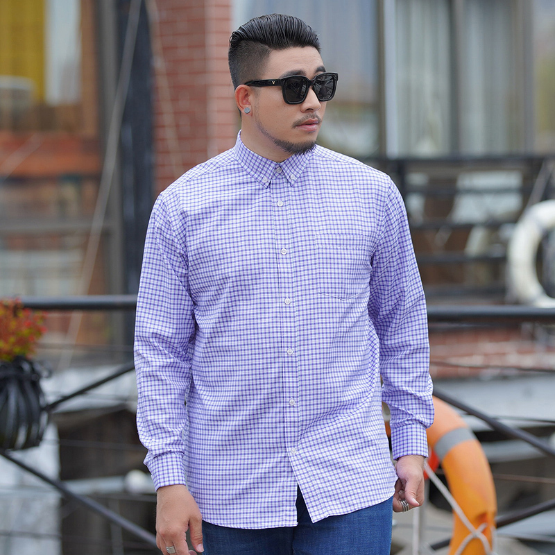 Plus Size 10xl 8xl 6x Lattice New Super Mens Large Long Sleeves Double Square Collar Formal Dress Shirts Spring Single Breasted