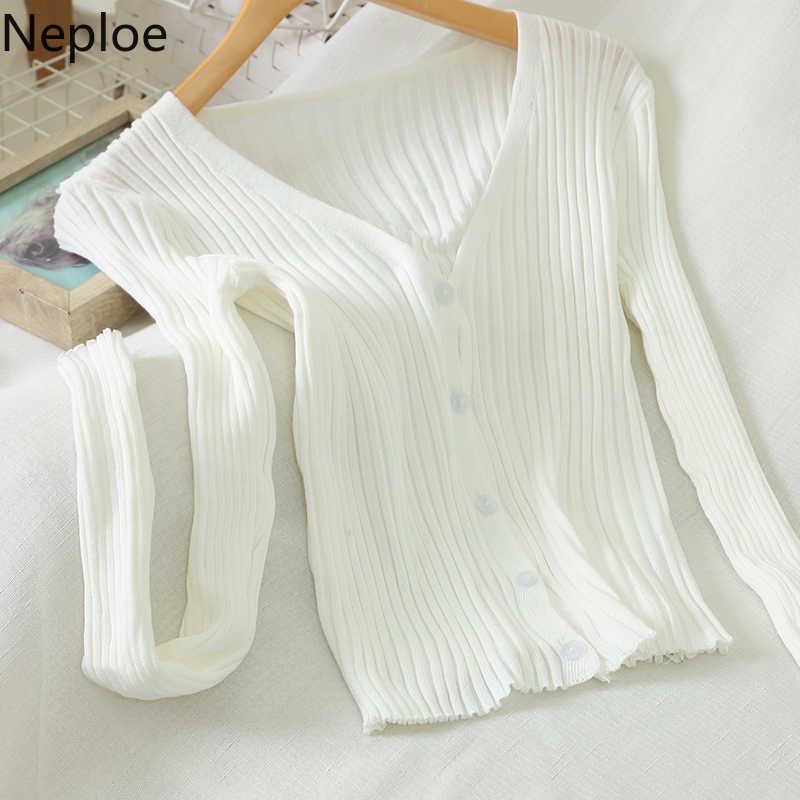 Neploe elegante 2020 primavera camisola feminina sólido decote em v manga comprida malha jumper casual curto elástico fino plissado cardigan