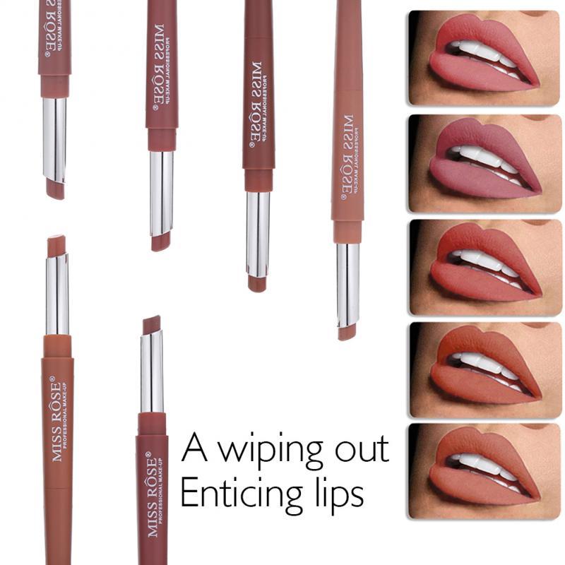 MISS ROSE  Lipstick Matte Pigments Velvet Brown Beauty Waterproof 20 Colors Red Sexy Moisturizing Makeup Lipliner TSLM2 Natural