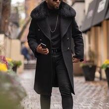 Зимнее мужское меховое длинное шерстяное пальто с прямым отворотом