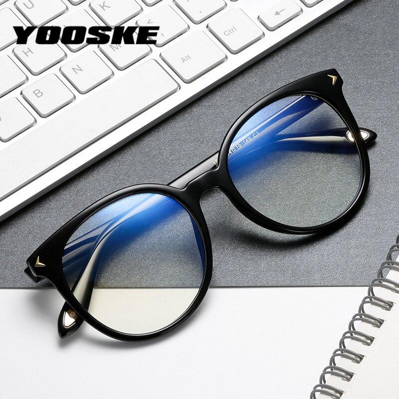 YOOSKE Computer Glasses Men Anti Blue-ray Eyeglasses Frames For Women Vintage Clear Round Spectacles