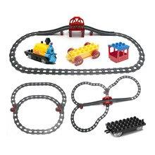купить Funny Train Blocks Accessories Train Coach Track Railway Assembling Parts Kids DIY Toys Compatible with Duploe дешево