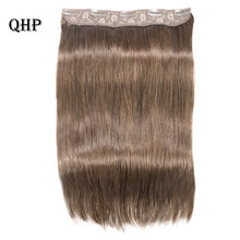 Hair Straight Clip In Human Hair Extensions #1#1B #4 #8 #613 #27 #32 Remy Hair 5 Clips in 1 piece Human Hair(China)