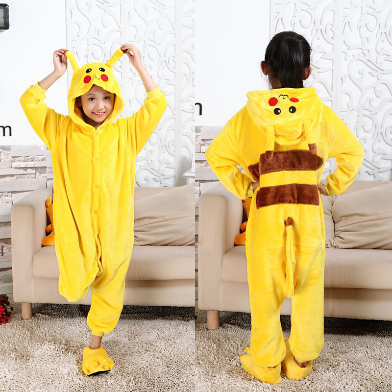 2019 Flannel Onesies For Children Pajamas Winter Animal Unicorn Jumpsuit Kids Onesies Cosplay Pikachu Flannel Sleepwear