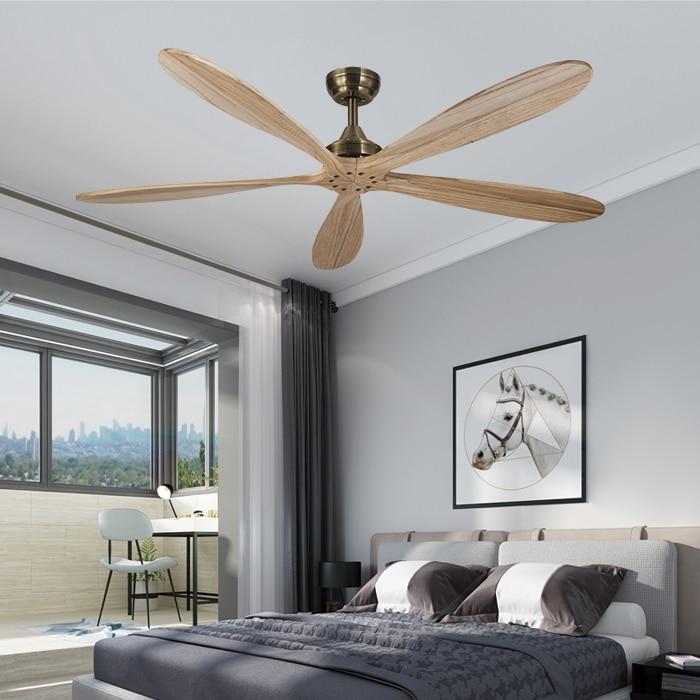 60 Inch Bronze Wooden Dc Ceiling Fan Remote Control Wood Decorative Ceiling Fans Without Light Fan 110v/220V Ventilador De Techo