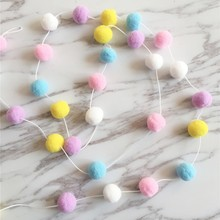 30pcs Kids Room Decoration Wool Felt Balls Christmas Ins Girl For Diy Accessories Wall Hanging Garland Nursery Party Supplies 2M diy 30pcs wool felt ball 2cm kids room decorative balls baby tent ornament hanging birthday gift christmas tree party wall decor