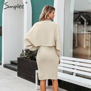 Image 4 - Simplee Elegante 2 Stuks Vrouwen Gebreide Jurk Solid Bodycon Trui Jurk Herfst Winter Dames Trui Werkkleding Trui Pak