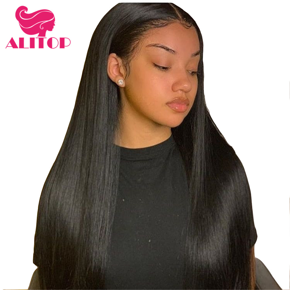ALITOP 360 Lace Frontal Wig 150% Density Straight Lace Front Human Hair Wigs Indian Remy Hair Wig Pre Plucked With B aby Hair