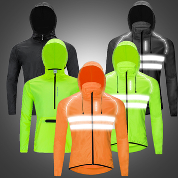 WOSAWE Thin High Visibility Motorcycle Jackets Hooded Caps Windproof Reflective Water Rain Repellent Cycling Windbreaker Coats