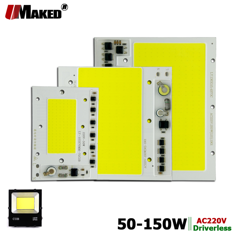 AC220V <font><b>LED</b></font> COB 50W <font><b>100W</b></font> 150W <font><b>LED</b></font> PCB Floodlight Module Aluminum plate White/Warm COB Chips Smart IC Driver For Spotlight Lamps image