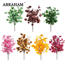 92cm 5 Fork Large Fake Eucalyptus Tree Branch Silk Artificial Plant Colorful leaves Autumn Decor Leafs For Wedding Home Party